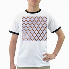 TILE1 WHITE MARBLE & RUSTED METAL (R) Ringer T-Shirts
