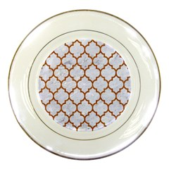 TILE1 WHITE MARBLE & RUSTED METAL (R) Porcelain Plates