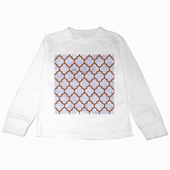 TILE1 WHITE MARBLE & RUSTED METAL (R) Kids Long Sleeve T-Shirts