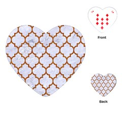 TILE1 WHITE MARBLE & RUSTED METAL (R) Playing Cards (Heart)