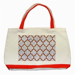 Tile1 White Marble & Rusted Metal (r) Classic Tote Bag (red)