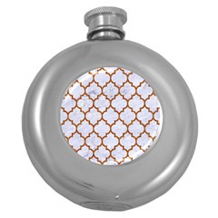 Tile1 White Marble & Rusted Metal (r) Round Hip Flask (5 Oz) by trendistuff