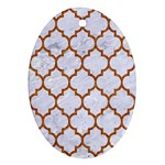 TILE1 WHITE MARBLE & RUSTED METAL (R) Oval Ornament (Two Sides) Front