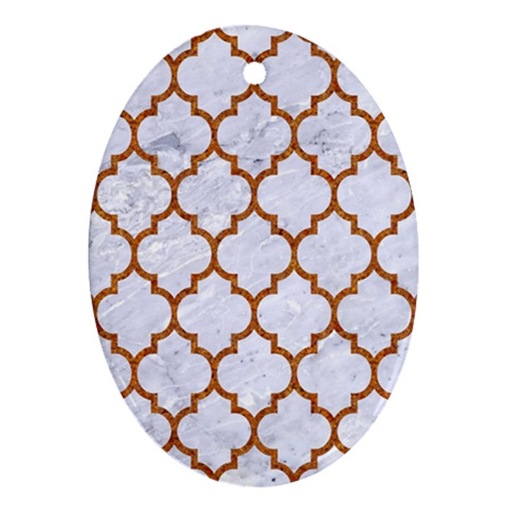 TILE1 WHITE MARBLE & RUSTED METAL (R) Oval Ornament (Two Sides)