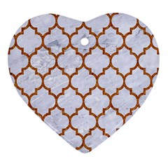 TILE1 WHITE MARBLE & RUSTED METAL (R) Heart Ornament (Two Sides)