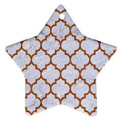TILE1 WHITE MARBLE & RUSTED METAL (R) Star Ornament (Two Sides)