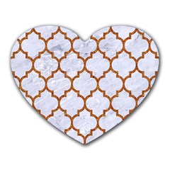 TILE1 WHITE MARBLE & RUSTED METAL (R) Heart Mousepads