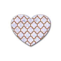 TILE1 WHITE MARBLE & RUSTED METAL (R) Rubber Coaster (Heart)