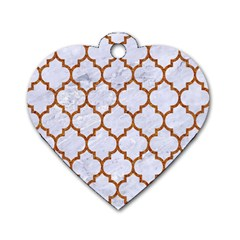 TILE1 WHITE MARBLE & RUSTED METAL (R) Dog Tag Heart (One Side)