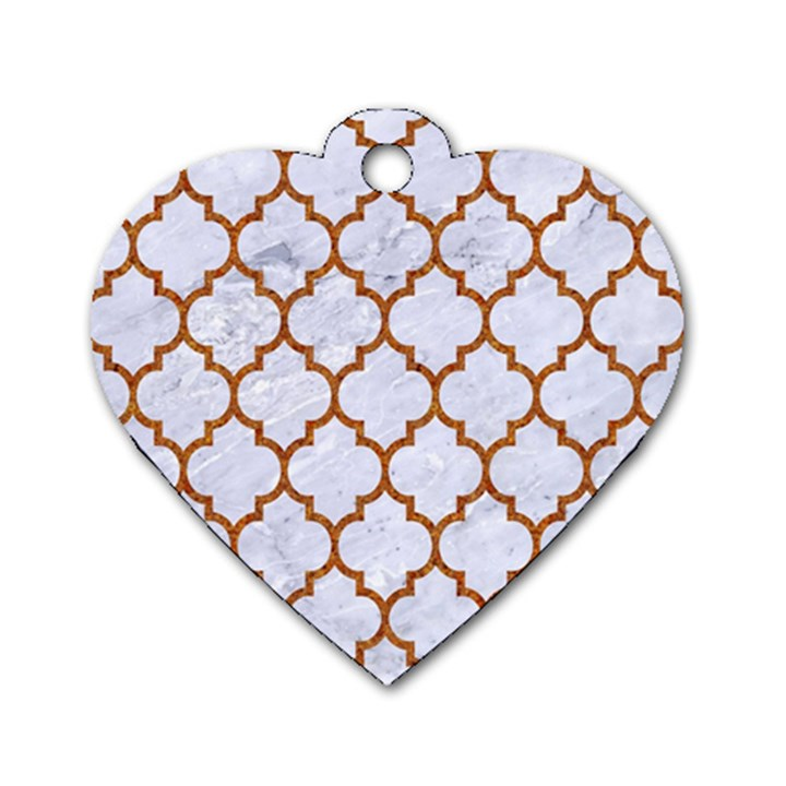 TILE1 WHITE MARBLE & RUSTED METAL (R) Dog Tag Heart (Two Sides)