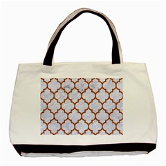 TILE1 WHITE MARBLE & RUSTED METAL (R) Basic Tote Bag (Two Sides)