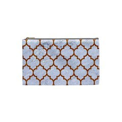 TILE1 WHITE MARBLE & RUSTED METAL (R) Cosmetic Bag (Small)