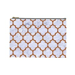 TILE1 WHITE MARBLE & RUSTED METAL (R) Cosmetic Bag (Large)