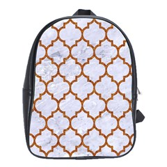 TILE1 WHITE MARBLE & RUSTED METAL (R) School Bag (Large)