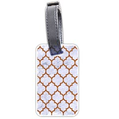 TILE1 WHITE MARBLE & RUSTED METAL (R) Luggage Tags (One Side)