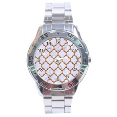 TILE1 WHITE MARBLE & RUSTED METAL (R) Stainless Steel Analogue Watch