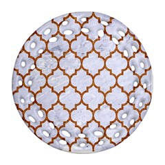 TILE1 WHITE MARBLE & RUSTED METAL (R) Round Filigree Ornament (Two Sides)