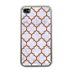 TILE1 WHITE MARBLE & RUSTED METAL (R) Apple iPhone 4 Case (Clear)