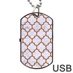 TILE1 WHITE MARBLE & RUSTED METAL (R) Dog Tag USB Flash (Two Sides)