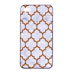 TILE1 WHITE MARBLE & RUSTED METAL (R) Apple iPhone 4/4s Seamless Case (Black)
