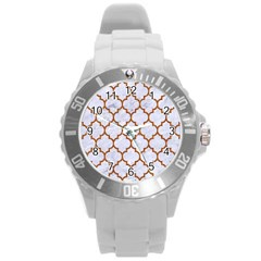 TILE1 WHITE MARBLE & RUSTED METAL (R) Round Plastic Sport Watch (L)