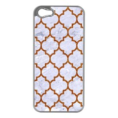 TILE1 WHITE MARBLE & RUSTED METAL (R) Apple iPhone 5 Case (Silver)