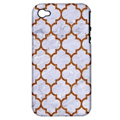 TILE1 WHITE MARBLE & RUSTED METAL (R) Apple iPhone 4/4S Hardshell Case (PC+Silicone)