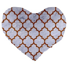 TILE1 WHITE MARBLE & RUSTED METAL (R) Large 19  Premium Heart Shape Cushions