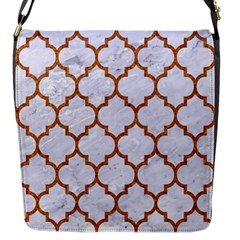 TILE1 WHITE MARBLE & RUSTED METAL (R) Flap Messenger Bag (S)