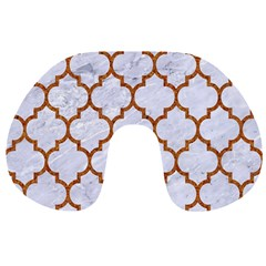 TILE1 WHITE MARBLE & RUSTED METAL (R) Travel Neck Pillows