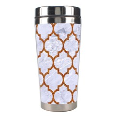 TILE1 WHITE MARBLE & RUSTED METAL (R) Stainless Steel Travel Tumblers
