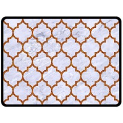 TILE1 WHITE MARBLE & RUSTED METAL (R) Double Sided Fleece Blanket (Large)