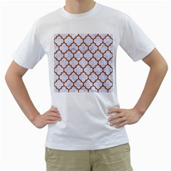 TILE1 WHITE MARBLE & RUSTED METAL (R) Men s T-Shirt (White)