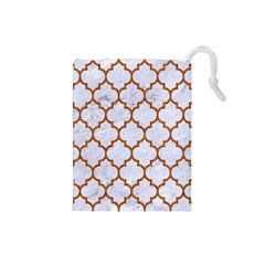 TILE1 WHITE MARBLE & RUSTED METAL (R) Drawstring Pouches (Small)