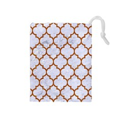TILE1 WHITE MARBLE & RUSTED METAL (R) Drawstring Pouches (Medium)