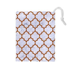 TILE1 WHITE MARBLE & RUSTED METAL (R) Drawstring Pouches (Large)