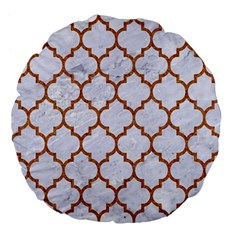 TILE1 WHITE MARBLE & RUSTED METAL (R) Large 18  Premium Flano Round Cushions