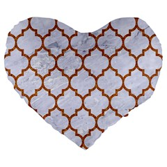 TILE1 WHITE MARBLE & RUSTED METAL (R) Large 19  Premium Flano Heart Shape Cushions
