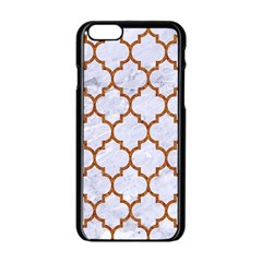 TILE1 WHITE MARBLE & RUSTED METAL (R) Apple iPhone 6/6S Black Enamel Case