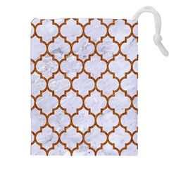TILE1 WHITE MARBLE & RUSTED METAL (R) Drawstring Pouches (XXL)