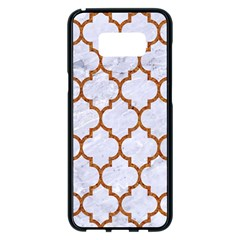 TILE1 WHITE MARBLE & RUSTED METAL (R) Samsung Galaxy S8 Plus Black Seamless Case