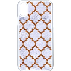 TILE1 WHITE MARBLE & RUSTED METAL (R) Apple iPhone X Seamless Case (White)