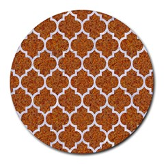 Tile1 White Marble & Rusted Metal Round Mousepads by trendistuff