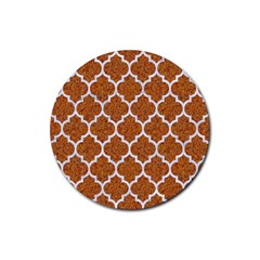 Tile1 White Marble & Rusted Metal Rubber Coaster (round)  by trendistuff
