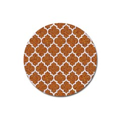 Tile1 White Marble & Rusted Metal Magnet 3  (round) by trendistuff