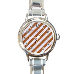 Stripes3 White Marble & Rusted Metal (r) Round Italian Charm Watch by trendistuff