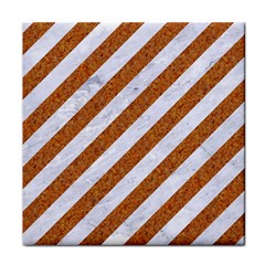 Stripes3 White Marble & Rusted Metal (r) Tile Coasters by trendistuff