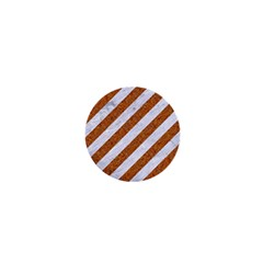 Stripes3 White Marble & Rusted Metal (r) 1  Mini Buttons by trendistuff