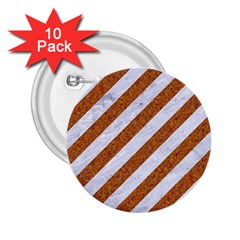Stripes3 White Marble & Rusted Metal (r) 2 25  Buttons (10 Pack)  by trendistuff