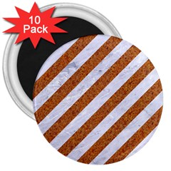 Stripes3 White Marble & Rusted Metal (r) 3  Magnets (10 Pack)  by trendistuff